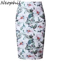 Neophil Vintage Floral Print Ethnic High Waist Ladies Midi Pencil Skirts Womens 2016 Bodycon Sexy Slim