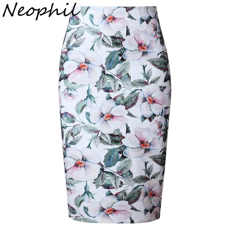 Neophil 2018 Elegant Floral Print Ladies Summer Midi Pencil Skirts High Waist Fashion Plus Size Slim Bodycon Office Saia S0417