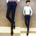 Diseño original 2015 nuevos hombres pantalones casuales Corea moda personalidad decorativa pantalones apretados pies Masculinos pantalones Delgados micro-bomba