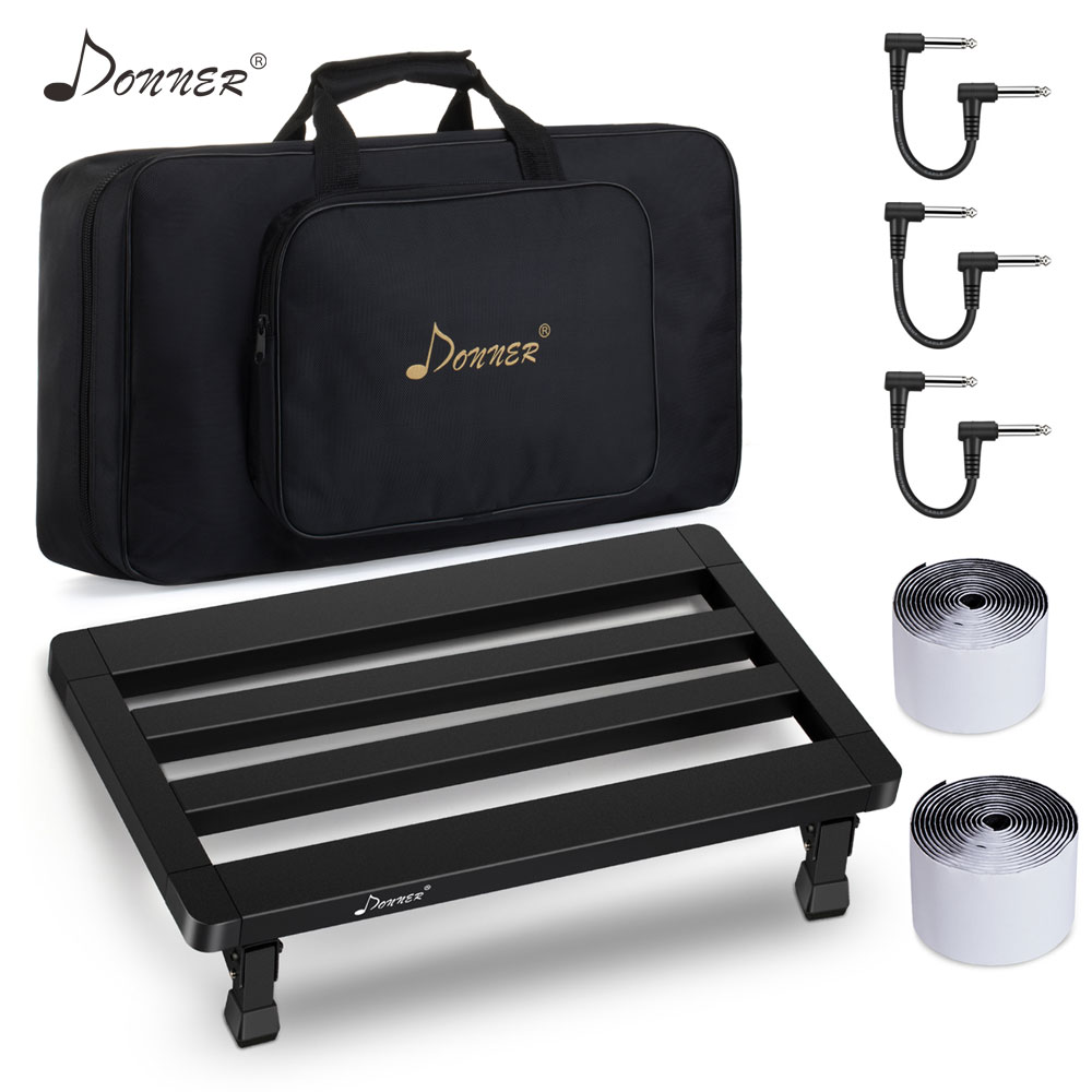 Donner Pedal Board Removable Guitar Effects Pedals Board Set Bag Guitar Cable Tape Case Kit Aluminum