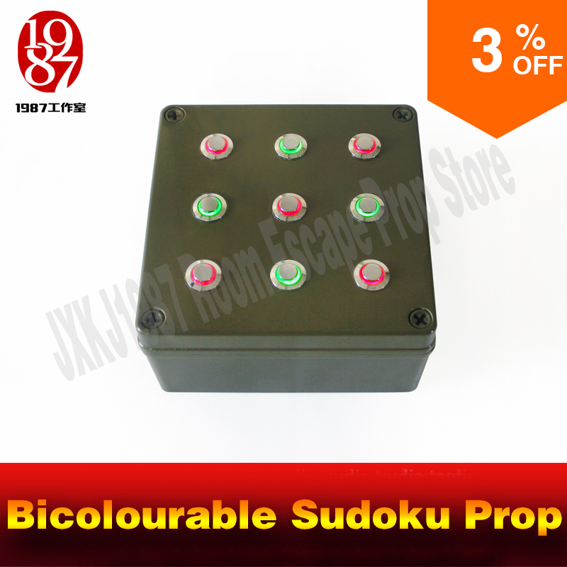 JXKJ1987 Room Escape Props Bicolourable Sudoku Prop Press The Nine Buttons Into Right Color To Unlock For Adventurer Game