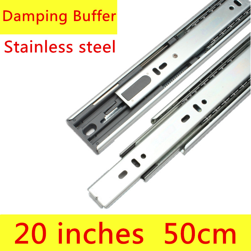 2 pairs 20 inches 50cm Stainless Steel Three Sections Drawer Track Slide with Damping Furntion Furniture Slide Guide Rail damping drawer slide rail track three cushion slide rails jumbo slide e1504