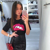Hot New Fashion T ShRirts For Women Summer Short Sleeve Sequin Red Lips T Shirt Ladies