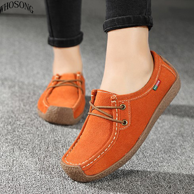WHOSONG 2019 Spring women flats   leather     suede   lace up casual loafers shoes ballet flats cowhide flexible boat oxford shoes M88