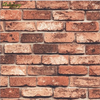 3d WallpaperRed Brick Vintage Three Dimensional Brick Wallpaper Roll Natural Stone Brick Effect Home Background Decor