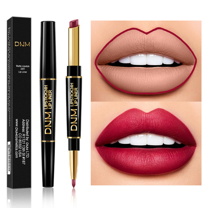 Hot Dual Use Waterproof Moist Matte Lipstick Batom <font><b>12</b></font> <font><b>Sexy</b></font> Colorful Red Nude Pink 2 IN 1 Lip Liner Pencils Makeup rouge a levre image