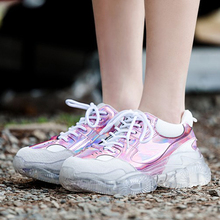 2019 Spring Style Round Toe 5CM Clear Heel Platform Silver Rose Chunky Sneakers Dad Shoes Women Jelly GO2H972