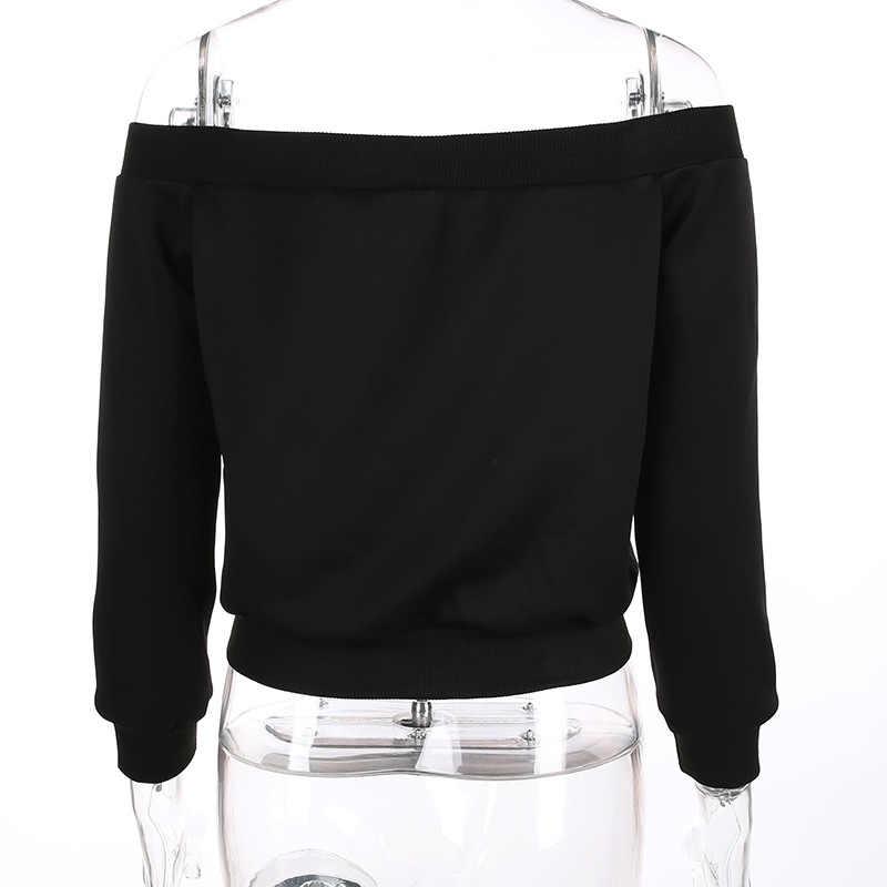 BKLD femmes vestes 2018 automne noir manteau à manches longues épaule dénudée Punk Streetwear manteaux et vestes femmes mode coupe-vent