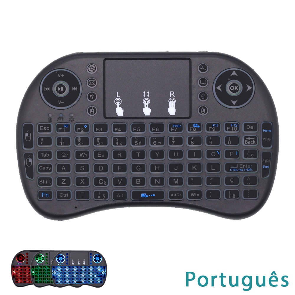 I8 Portuguese Keyboard RGB Backlight 2.4G Mini Wireless Keyboard With TouchPad Mouse For Google Android TV Box, Mini PC, Laptop
