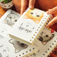 A6 Cute Cat Lined Printing Double Sprial Notebook Lovely Note Book Diary Creative Stationery Planner Agenda