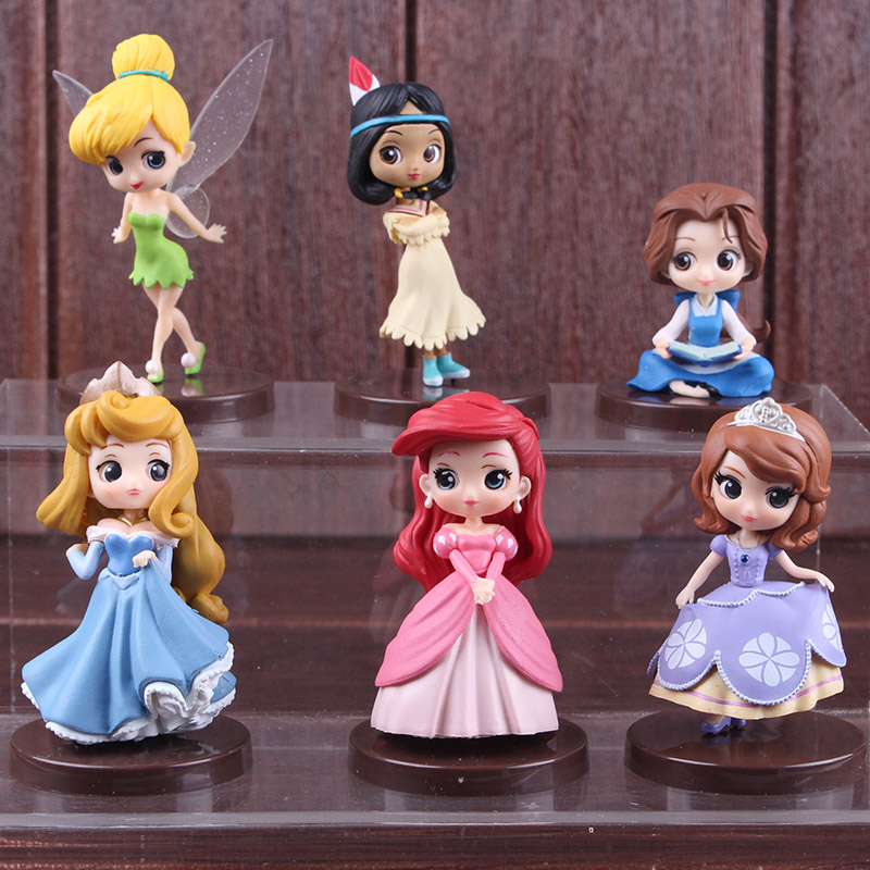 Qposket Fairy Tale Action Figure Princess Tinker Bell Tiger Lily Belle Ariel Sofia Aurora Princess Toy For Girls 3pcs/set 7.5cm