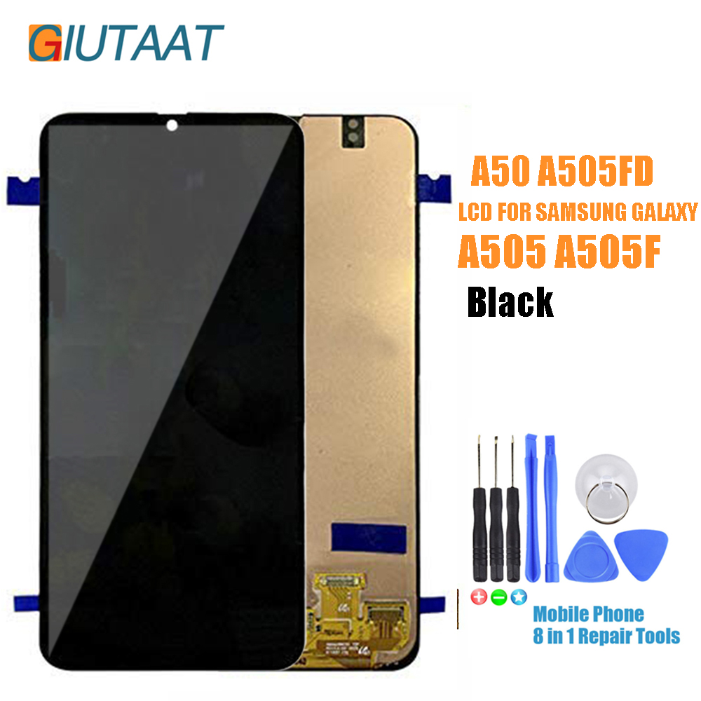Front Panel Screen For <font><b>Samsung</b></font> Galaxy <font><b>A50</b></font> <font><b>LCD</b></font> <font><b>Display</b></font> Touch Digitizer Sensor Glass Assembly For <font><b>Samsung</b></font> <font><b>A50</b></font> A505 A505F A505FD image