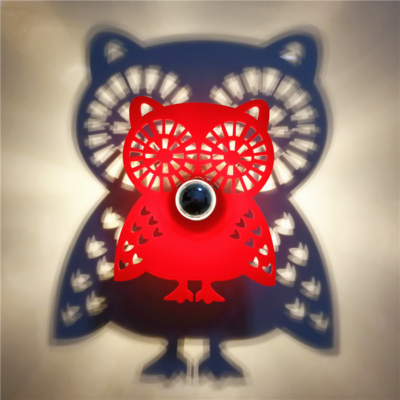 2018 NEW Night Light E27 Led Bulb Animal OWL Projection Shadow Fixtures Modern Wall Lamp for home Black Red Color Warm Lighting