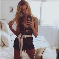 2017 Summer Women Lace Shorts Bodycon Overall Deep V Jumpsuits Backless Sexy Tight Romper Playsuit For