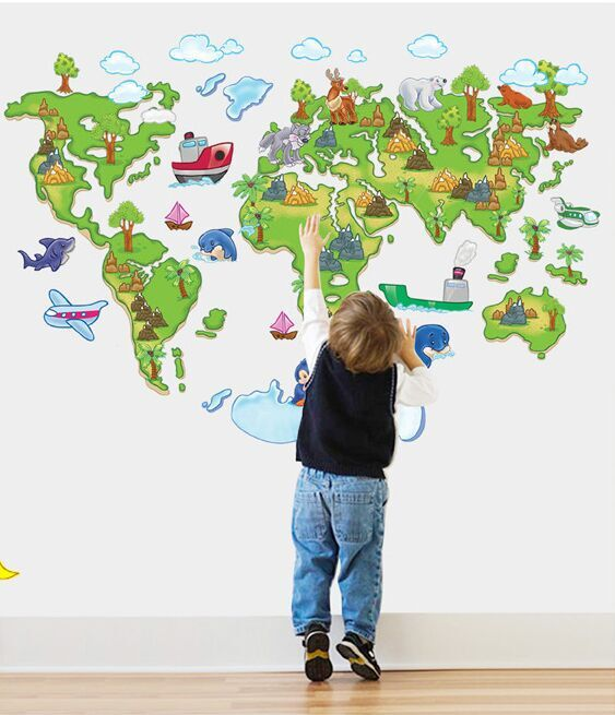 Creative cartoon europe style world map diy removable wall creative cartoon europe style world map diy removable wall stickers sitting room kids room nursery home decor wall decal abc1001 in wall stickers from home gumiabroncs Image collections