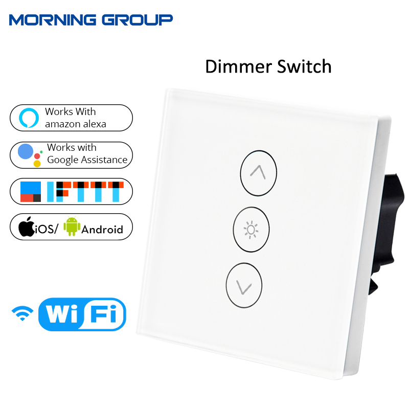 Wifi Smart Wall Touch Light Dimmer Switch 1 Gang EU/UK Standard APP Remote Control Works with Amazon Alexa and Google Home mini wifi rgb strip light controller with music control and voice control compatible with google home