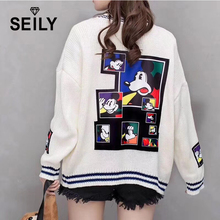 Seily Autumn Star Letter Embroidery Long Sleeve Knitted Cardigan Women Cute Cartoon Mouse Warm Tops Sweater Deep V Loose Coat