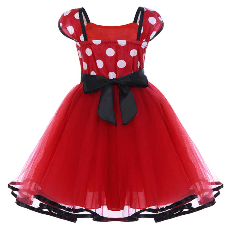 1314a7da3 ... 2pcs Set Toddler Baby Girls Clothes Polka Dot Tulle Minnie Mouse Dress  Headband Princess Birthday Mickey ...