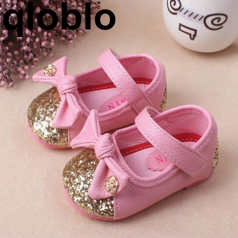 qloblo Gilrs Princess Flat Shoes Children Dress Little Girls Princess Single Shoes Kids Leather Shoes Tenis Infantil