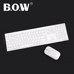 B.O.W رقيقة جدا معدنية لاسلكية ضئيلة لوحة المفاتيح والماوس التحرير والسرد ، تصميم مريح وحجم كامل لوحة المفاتيح القابلة لإعادة الشحن للكمبيوتر