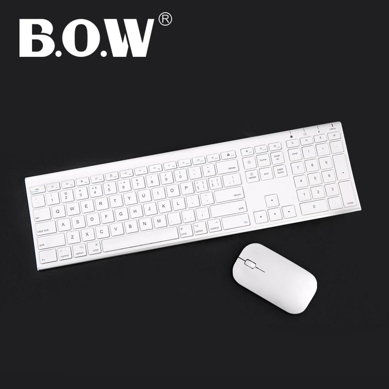 B.O.W Combo ultra delgado de teclado y mouse inalámbrico de metal delgado, diseño ergonómico y teclado recargable de tamaño completo para computadora