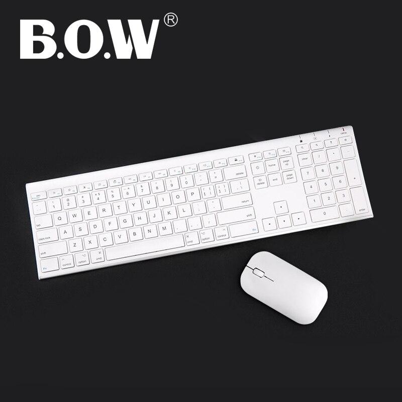 Clavier et souris Slim sans fil en métal Ultra mince B.O.W, Design ergonomique et clavier Rechargeable pleine grandeur pour ordinateur
