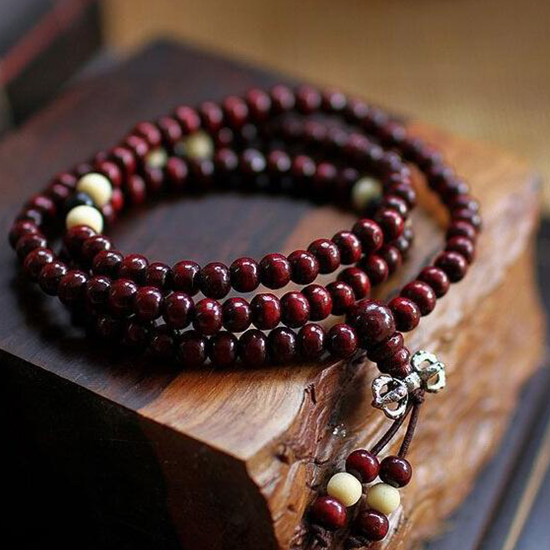 Fashion Bracelets Natural 6mm Rosewood Beads 108 Buddha Bracs