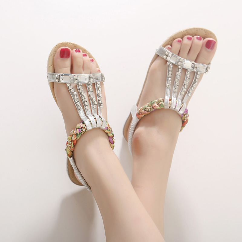 Bohemian Women's Sandals Gemstone Slippers Summer Women Beach Sandals Ladies Flat Sandals Shoes Women Zapatos Mujer 1
