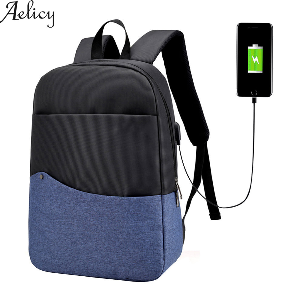 Aelicy Men Women Nylon Laptop Backpack Bag With USB charging High Quality Travel Backpack School Bags 4 Colors 2018 NEW DESIGN