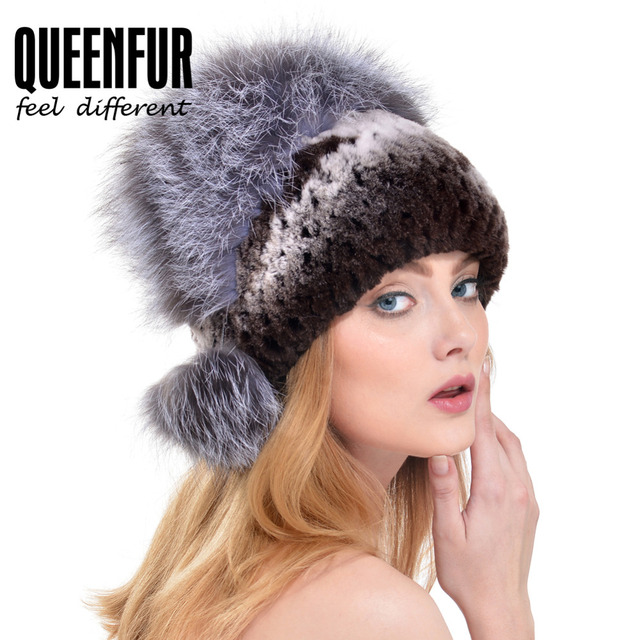 QUEENFUR 2016 New Natural Rex Rabbit Fur Beanies With Fox Fur Ball Cap Elegant Women Super Elastic Knit Real Rabbit Fur Hat