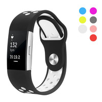 Rubber Watch Band Silicone Strap For Fitbit Charge 2 Bands Diamond Heart Rate Smart Bracelet Stainless