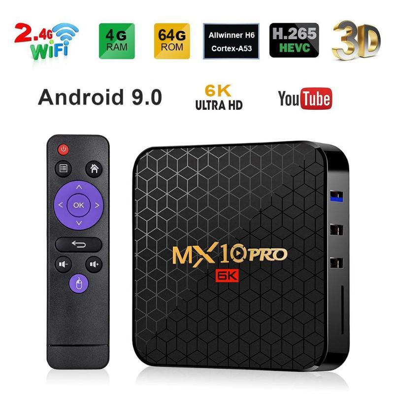 MX10 Pro TV Box 4GB + 64 GB/32 GB US/EU Android 9.0 Allwinner H6 Quad Core 64 bits ARM Cortex-A53 CPU Mali T720 GPU 6K décodeur