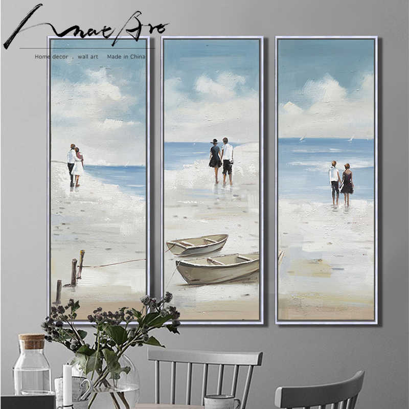 scenery Seascape canvas art 3 piece painting prints for living room home decor office decor ocean beach walks