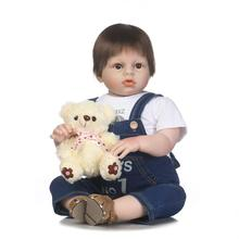 70cm Big Size Arianna Adora Toddler Boy Doll Brown Eyes Hand Rooted Doll Hair Jeans Suspender Dressed Boy Doll Presents for Kids