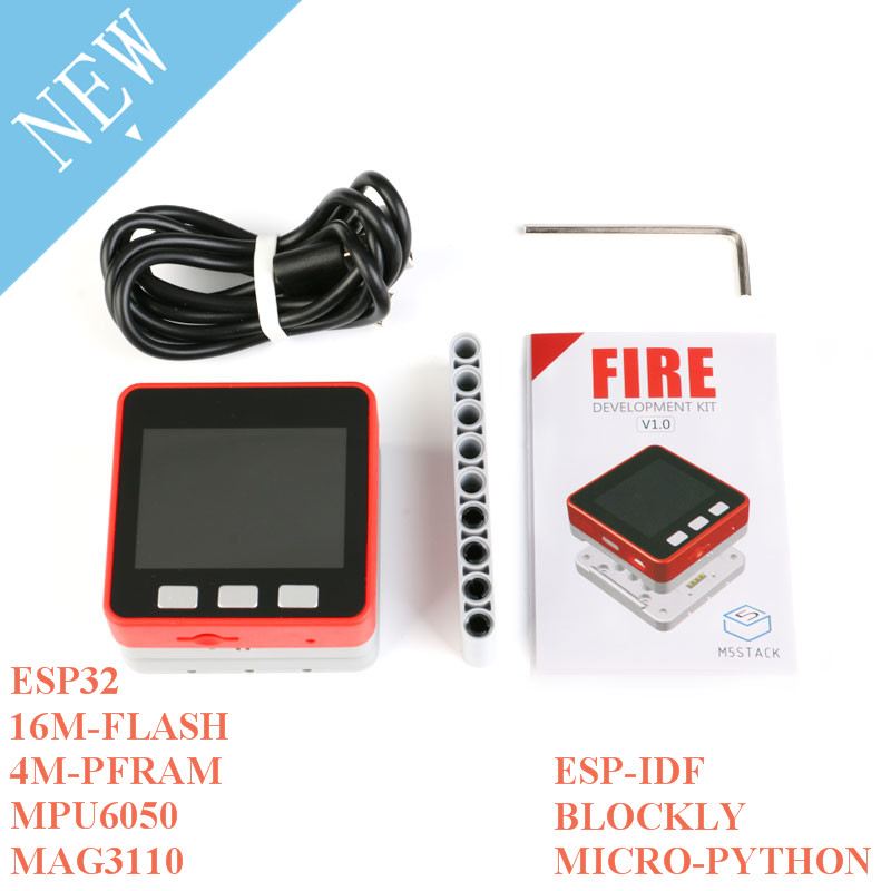 M5Stack PSRAM 2.0 FIRE IoT Kit Dual Core ESP32 16M-FLash+4M-PSRAM Development Board MIC/BLE MPU6050+MAG3110 Of Micropython ZK5