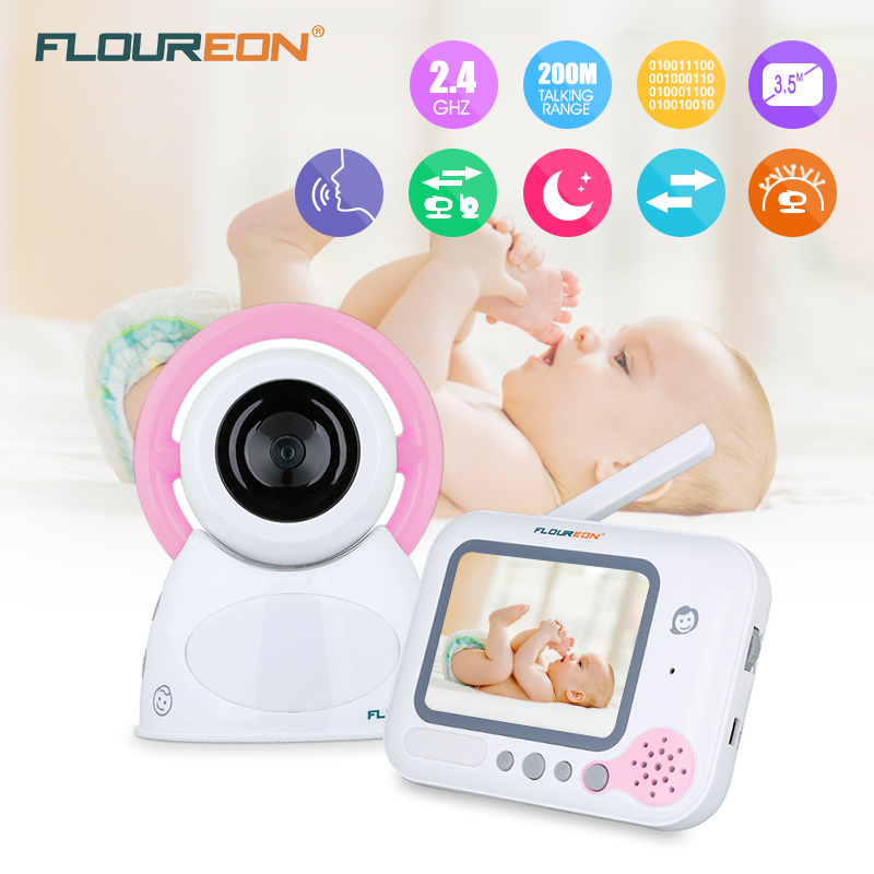 Floureon 3.5 inch LCD Screen baby monitor Wireless Security Camera 2 Way Talk Nigh Vision Video Baby monitor pink floureon 3 5 inch wireless digital baby monitor color lcd two way talk night vision audio video surveillance security camera