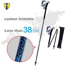 Ultra-light Adjustable Folding Camping Hiking Walking Stick Alpenstock Bastones Trekking Carbon Fiber Climbing Ski Trekking Pole