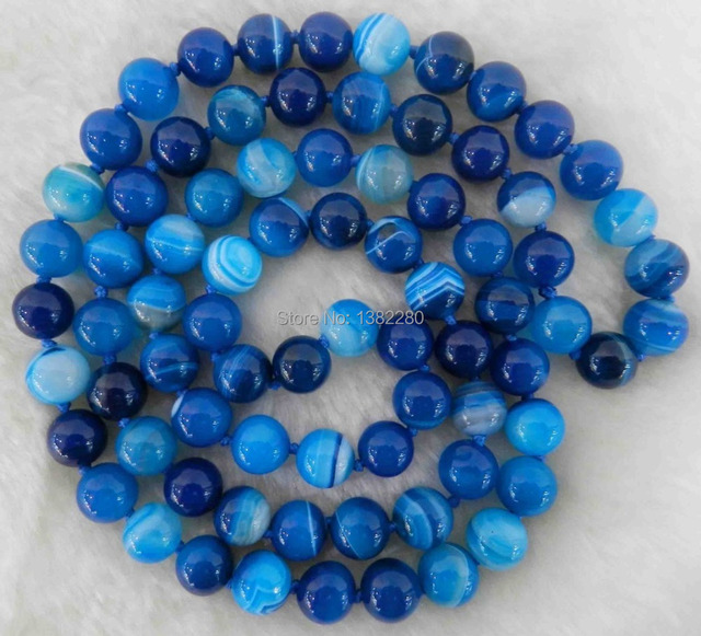 Fashion 10mm Blue Stripe Onyx Chalcedony Stone Accessories Round Beads Tie Long Necklace Jewelry Female Sex Banquet Partner 35""