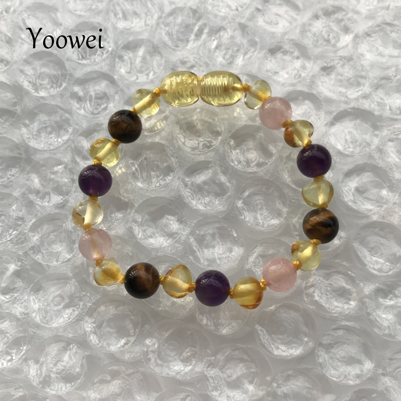 HTB1g7hKfS I8KJjy0Foq6yFnVXaQ Yoowei 9 Color Baby Amber Bracelet/Necklace Natural Amethyst Gems Adult Baby Teething Necklace Baltic Amber Jewelry Wholesale