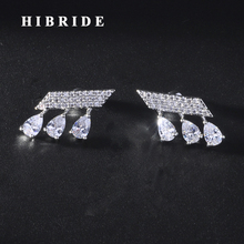 HIBRIDE Beauty Water Drop Shape Cubic Zircon Women Birdal  Stud Earrings Accessories Brincos Jewelry Party Gifts E-928 hibride fashion water drop shape high quality cubic zircon drop earring beauty white gold color brincos earrings for girl e 784