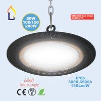 10 pcs/lot 50W 100W 150W 200W led UFO high bay light ip65 AC100 277V outdoor lightinggood heat disspotion Industrial light led