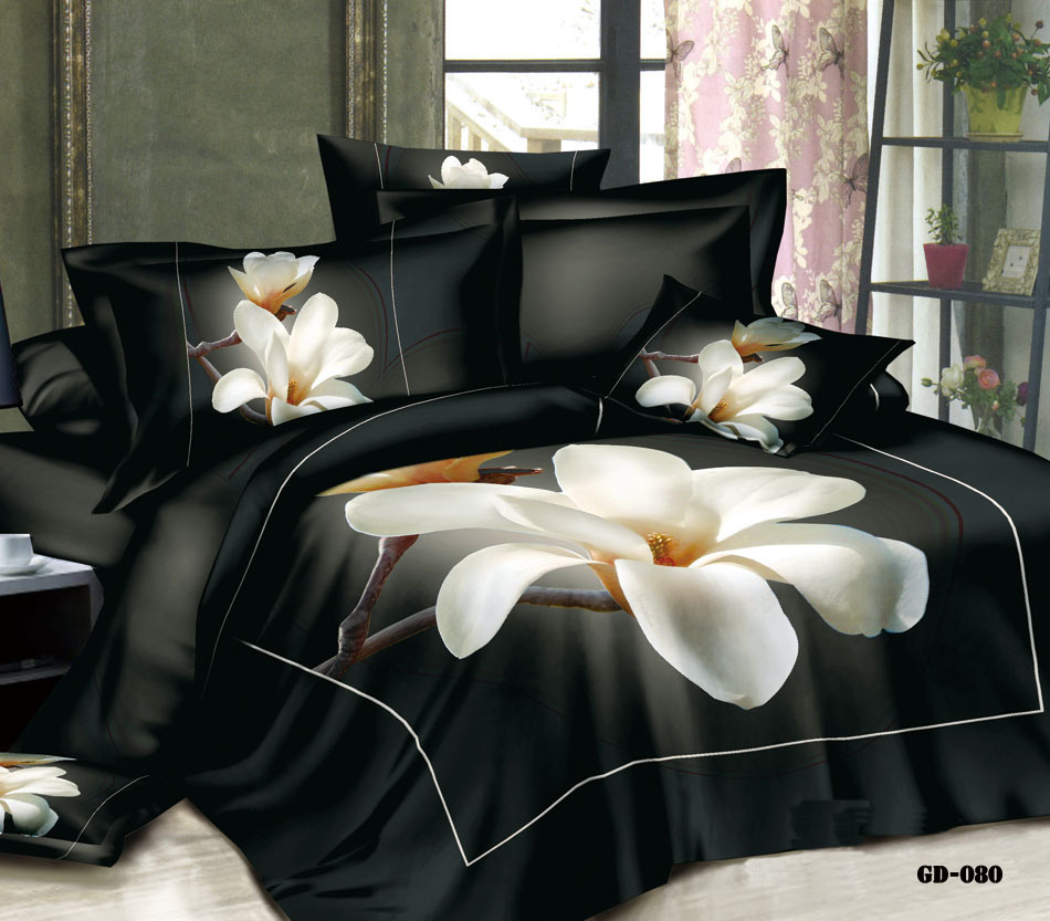 3d Magnolia Floral Flower Bedding Set California King Queen Size