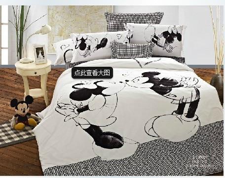 bande dessin e mickey mouse noir et blanc coton 100 coton fille kit housse de couette draps de. Black Bedroom Furniture Sets. Home Design Ideas