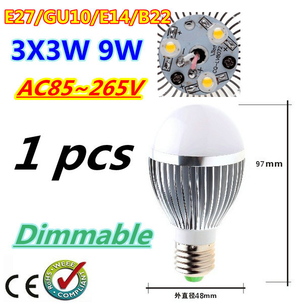 1pcs/lot Bubble Ball Bulb 3LED 9W E27 GU10 High power Ball steep light LED Light Bulbs Lamp Lighting tube Free shipping