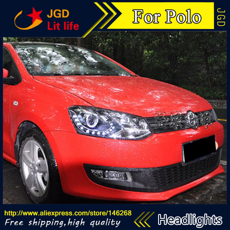 Free shipping ! Car styling LED HID Rio LED headlights Head Lamp case for VW Polo 2011 Bi-Xenon Lens low beam