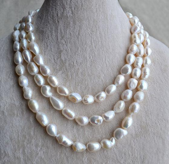 Handmade Natural Baroque Pearl Jewelry,55 inches 9-10mm White Color Freshwater Pearl Necklace,Big Size,Mother Necklace