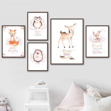 Wall Art Canvas Painting Fox Deer Owl Bird Hedgehog Cartoon Nordic Posters And Prints Decoration Pictures For Kids Room