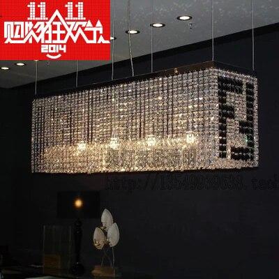 Restaurants Led Rectangular Chandelier Art Modern Minimalist Living Room Lamp Lighting Fendi Double F Word