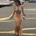 Por encargo Champagne 2 Peice baile vestidos sirena larga sin mangas de gasa con cuentas Prom vestidos Sexy Vestido de noiva 2016