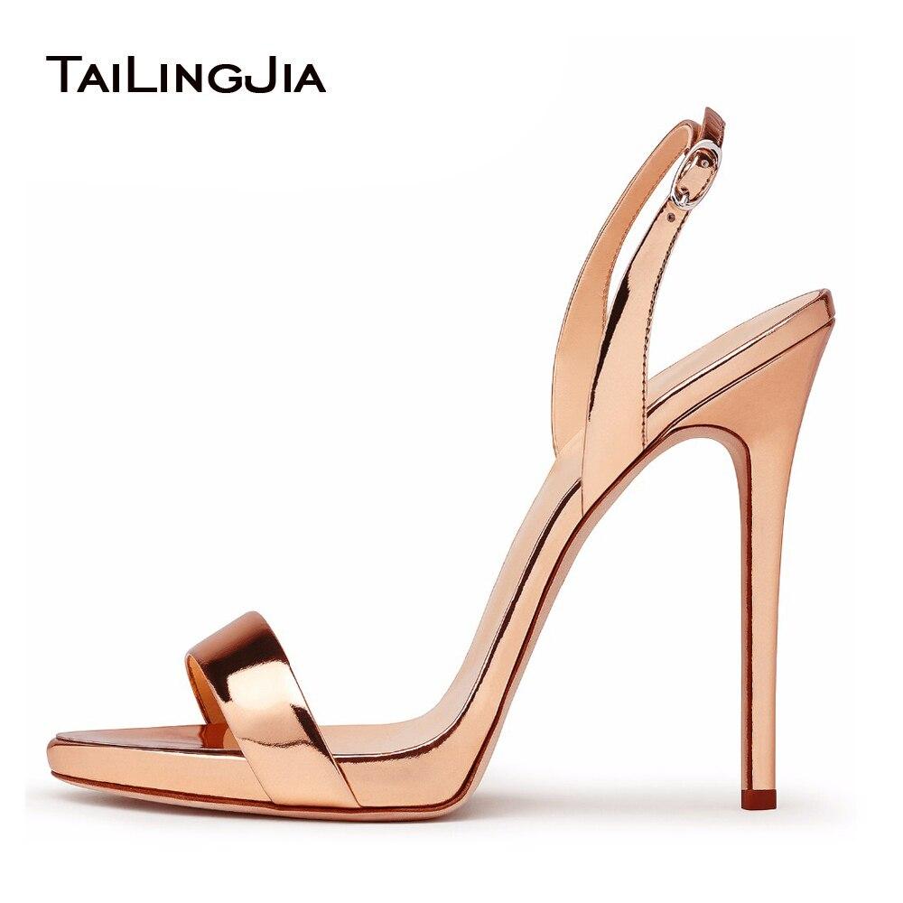 Розовое золото высокий каблук основные Сандалии для девочек Для женщин брендов Стиль женские классические с ремешком сзади Каблучки пикан...
